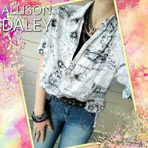 Allison Daley Travel Collage Embroidered Blouse